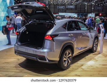 Switzerland; Geneva; March 10, 2018; Lexus NX 300h rear side with opened trunk; The 88th International Motor Show in Geneva from 8th to 18th of March, 2018.