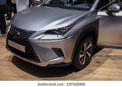 Switzerland; Geneva; March 10, 2018; Lexus NX 300h front side from the left; The 88th International Motor Show in Geneva from 8th to 18th of March, 2018.