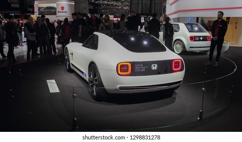 Switzerland; Geneva; March 10, 2018; Honda Sports EV Concept rear side; The 88th International Motor Show in Geneva from 8th to 18th of March, 2018.