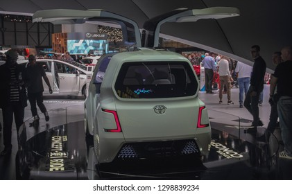 Switzerland; Geneva; March 10, 2018; Toyota Concept i Ride rear side; The 88th International Motor Show in Geneva from 8th to 18th of March, 2018.