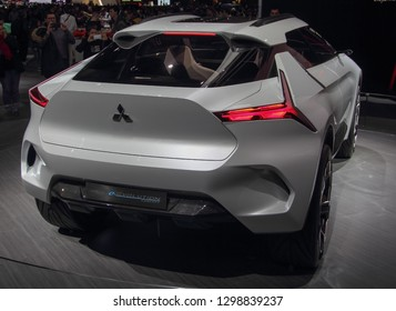 Switzerland; Geneva; March 10, 2018; The World Premiere of Mitsubishi e-Evolution concept - rear side; The 88th International Motor Show in Geneva from 8th to 18th of March, 2018.