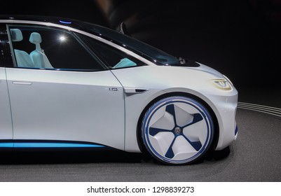Switzerland; Geneva; March 10, 2018; The Volkswagen I.D. profile - right side; The 88th International Motor Show in Geneva from 8th to 18th of March, 2018.