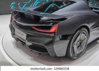 Switzerland; Geneva; March 10, 2018; Right profile side of Rimac Concept 2 rear side; the 88th International Motor Show in Geneva from 8th to 18th of March, 2018.