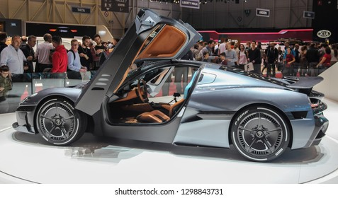 Switzerland; Geneva; March 10, 2018; Left profile side of Rimac Concept 2 with opened doors; the 88th International Motor Show in Geneva from 8th to 18th of March, 2018.
