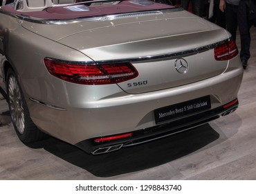 Switzerland; Geneva; March 10, 2018; The Mercedes-Benz S560 Cabriolet rear side; the 88th International Motor Show in Geneva from 8th to 18th of March, 2018.