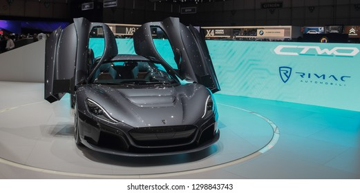 Switzerland; Geneva; March 10, 2018; Right profile side of Rimac Concept 2; the 88th International Motor Show in Geneva from 8th to 18th of March, 2018.