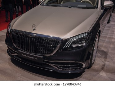 Switzerland; Geneva; March 10, 2018; The Mercedes Benz Maybach S 650 - front; The 88th International Motor Show in Geneva from 8th to 18th of March, 2018.