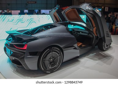 Switzerland; Geneva; March 10, 2018; Right profile side of Rimac Concept 2 with opened doors; the 88th International Motor Show in Geneva from 8th to 18th of March, 2018.