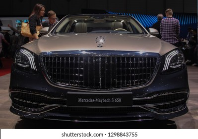 Switzerland; Geneva; March 10, 2018; The Mercedes Benz Maybach S 650 - close up front; The 88th International Motor Show in Geneva from 8th to 18th of March, 2018.
