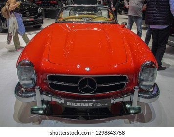 """Switzerland; Geneva; March 10, 2018; The Mercedes-Benz 300 SL Cabriolet """"Roadster"""" front; the 88th International Motor Show in Geneva from 8th to 18th of March, 2018."""