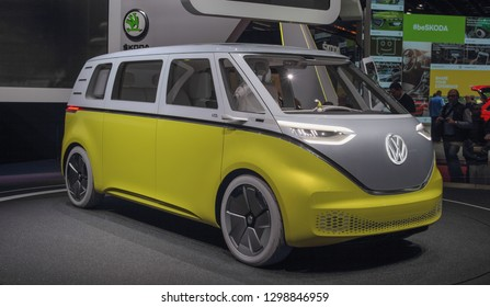 Switzerland; Geneva; March 10, 2018; Volkswagen Buzz - right side; the 88th International Motor Show in Geneva from 8th to 18th of March, 2018.