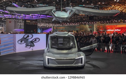 Switzerland; Geneva; March 10, 2018; The Audi Pop. up Next car with the Airbus aircraft above it; The 88th International Motor Show in Geneva from 8th to 18th of March, 2018.