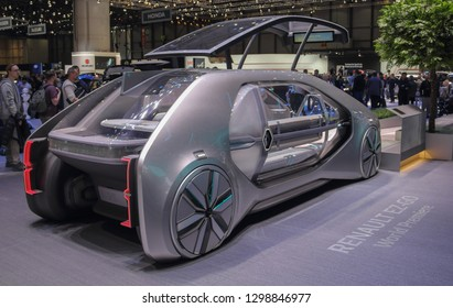 Switzerland; Geneva; March 10, 2018; The World Premiere of Renault EZ-GO, opened door; The 88th International Motor Show in Geneva from 8th to 18th of March, 2018.