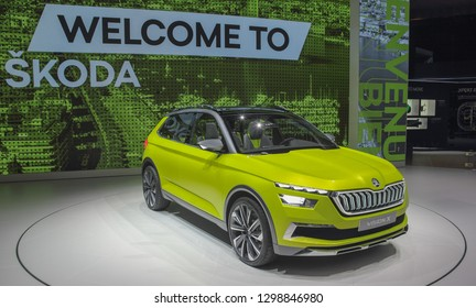Switzerland; Geneva; March 10, 2018; The Skoda Vision X; The 88th International Motor Show in Geneva from 8th to 18th of March, 2018.