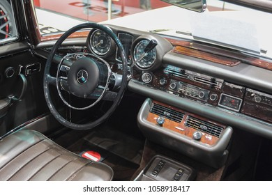 Switzerland; Geneva; March 8, 2018; Mercedes-Benz 280 SL Pagoda dashboard; the 88th International Motor Show in Geneva from 8th to 18th of March, 2018.