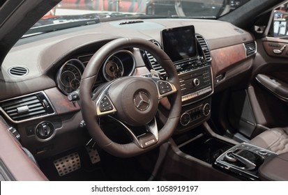 Switzerland; Geneva; March 8, 2018; Mercedes-Benz Brabus 850 - MB GLS63 4Matic SUV interior; the 88th International Motor Show in Geneva from 8th to 18th of March, 2018.