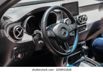 Switzerland; Geneva; March 8, 2018; Dashboard of Mercedes-Benz X 350d 4 Matic with V6 engine; the 88th International Motor Show in Geneva from 8th to 18th of March, 2018.
