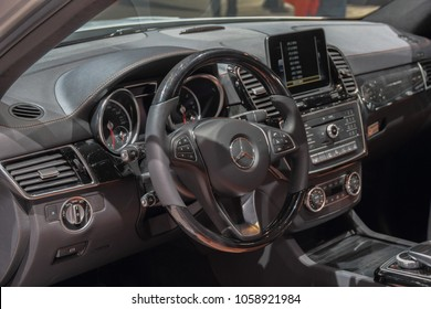 Switzerland; Geneva; March 8, 2018; Mercedes-Benz GLE 350d 4Matic Sport Utility Vehicle  dashboard; the 88th International Motor Show in Geneva from 8th to 18th of March, 2018.