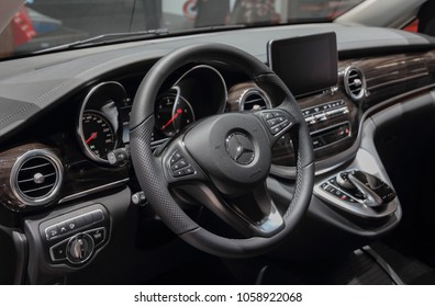Switzerland; Geneva; March 8, 2018; Mercedes-Benz Marco Polo HORIZON 250d  4Matic dashboard; the 88th International Motor Show in Geneva from 8th to 18th of March, 2018.