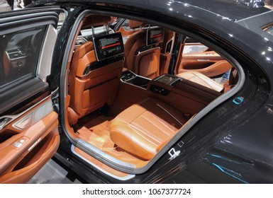 Switzerland; Geneva; March 8, 2018; The close up of BMW 7 series rear interior; the 88th International Motor Show in Geneva from 8th to 18th of March, 2018.