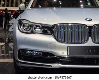 Switzerland; Geneva; March 8, 2018; The close up of BMW 7 series front; the 88th International Motor Show in Geneva from 8th to 18th of March, 2018.