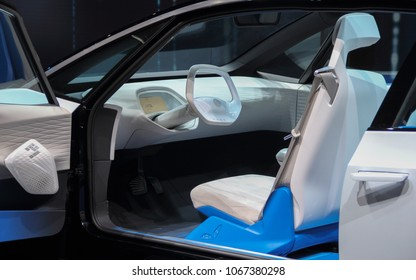 Switzerland; Geneva; March 8, 2018; The Volkswagen I.D. interior; The 88th International Motor Show in Geneva from 8th to 18th of March, 2018.