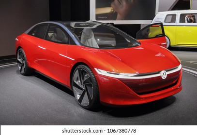 Switzerland; Geneva; March 8, 2018; The Volkswagen I.D. Vizzion front; The 88th International Motor Show in Geneva from 8th to 18th of March, 2018.