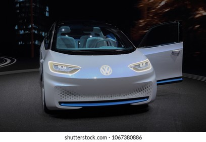 Switzerland; Geneva; March 8, 2018; The Volkswagen I.D. front; The 88th International Motor Show in Geneva from 8th to 18th of March, 2018.