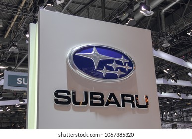 Switzerland; Geneva; March 8, 2018; The  SUBARU emblem; The 88th International Motor Show in Geneva from 8th to 18th of March, 2018.
