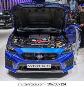 Switzerland; Geneva; March 8, 2018; The Subaru WRX STI with opened hood, front side; The 88th International Motor Show in Geneva from 8th to 18th of March, 2018.