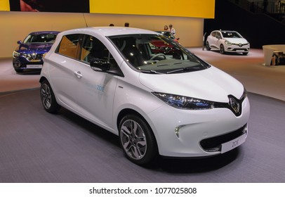 Switzerland; Geneva; March 8, 2018; Renault ZOE; The 88th International Motor Show in Geneva from 8th to 18th of March, 2018.