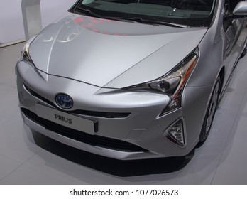 Switzerland; Geneva; March 8, 2018; Toyota Prius front; The 88th International Motor Show in Geneva from 8th to 18th of March, 2018.