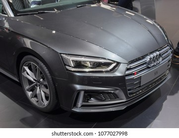Switzerland; Geneva; March 8, 2018; Audi S5 front; The 88th International Motor Show in Geneva from 8th to 18th of March, 2018.