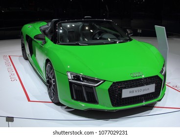 Switzerland; Geneva; March 8, 2018; Audi R8 Spyder V10 plus; The 88th International Motor Show in Geneva from 8th to 18th of March, 2018.