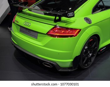 Switzerland; Geneva; March 8, 2018; Audi TT RS rear side; The 88th International Motor Show in Geneva from 8th to 18th of March, 2018.