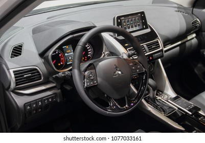Switzerland; Geneva; March 8, 2018; The close up of Mitsubishi ASX steering wheel; The 88th International Motor Show in Geneva from 8th to 18th of March, 2018.