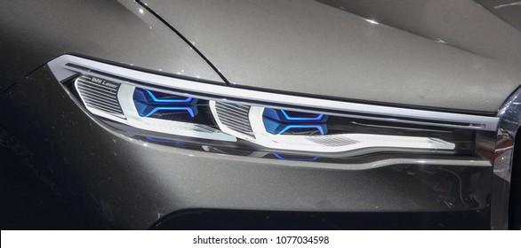 Switzerland; Geneva; March 8, 2018; The close up of BMW concept X7 headlight; The 88th International Motor Show in Geneva from 8th to 18th of March, 2018.