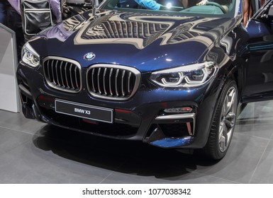 Switzerland; Geneva; March 8, 2018; The BMW X3 front; The 88th International Motor Show in Geneva from 8th to 18th of March, 2018.