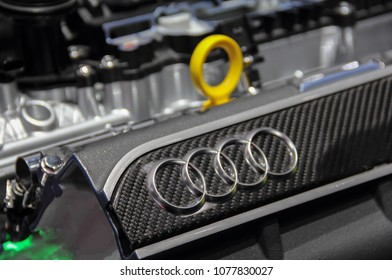 Switzerland; Geneva; March 8, 2018; The close up of Audi emblem on it's engine; The 88th International Motor Show in Geneva from 8th to 18th of March, 2018.