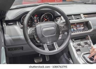 Switzerland; Geneva; March 8, 2018; Range Rover steering wheel; The 88th International Motor Show in Geneva from 8th to 18th of March, 2018.