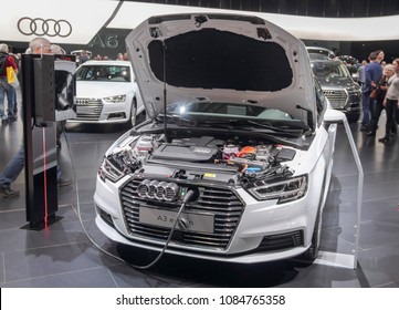 Switzerland; Geneva; March 8, 2018; Audi A3 e-trone with opened hood; The 88th International Motor Show in Geneva from 8th to 18th of March, 2018.