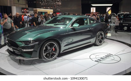 Switzerland; Geneva; March 8, 2018; Ford Mustang Bullitt profile; The 88th International Motor Show in Geneva from 8th to 18th of March, 2018.