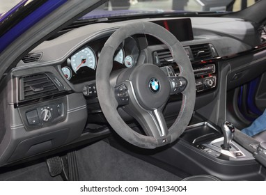 Switzerland; Geneva; March 8, 2018; BMW M3 CS interior; The 88th International Motor Show in Geneva from 8th to 18th of March, 2018.