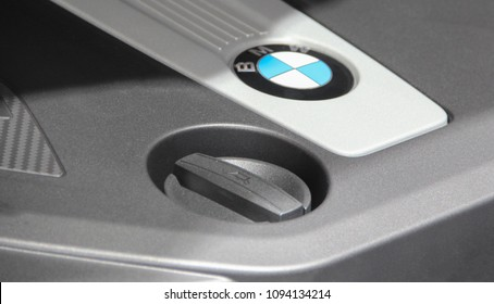 Switzerland; Geneva; March 8, 2018; BMW oil filter cap; The 88th International Motor Show in Geneva from 8th to 18th of March, 2018.
