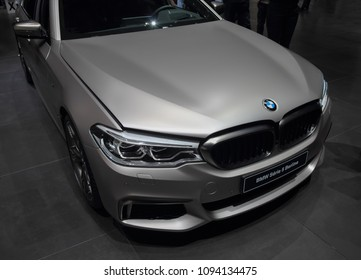 Switzerland; Geneva; March 8, 2018; BMW Series 5 Berline front; The 88th International Motor Show in Geneva from 8th to 18th of March, 2018.