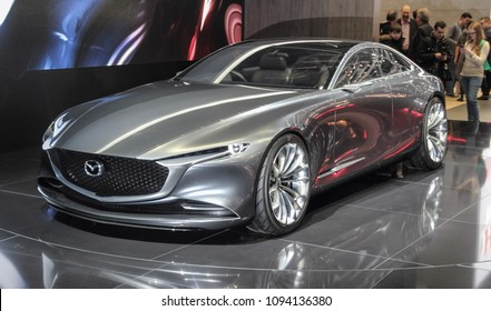 Switzerland; Geneva; March 8, 2018; Mazda Vision Coupe Concept from the left; The 88th International Motor Show in Geneva from 8th to 18th of March, 2018.