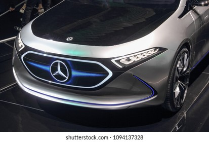 Switzerland; Geneva; March 8, 2018; Mercedes-Benz EQA front; The 88th International Motor Show in Geneva from 8th to 18th of March, 2018.