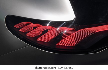 Switzerland; Geneva; March 8, 2018; Mercedes-Benz EQA brake light; The 88th International Motor Show in Geneva from 8th to 18th of March, 2018.