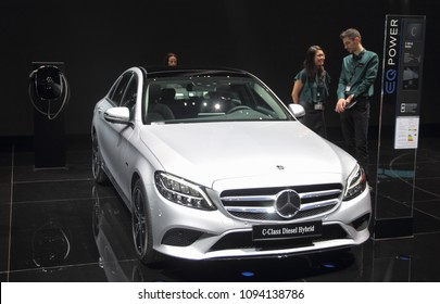 Switzerland; Geneva; March 8, 2018; Mercedes-Benz C-Class Diesel Hybrid; The 88th International Motor Show in Geneva from 8th to 18th of March, 2018.