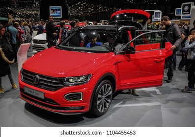 Switzerland; Geneva; March 8, 2018; Volkswagen T-Roc R-Line; The 88th International Motor Show in Geneva from 8th to 18th of March, 2018.